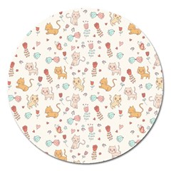 Kittens And Birds And Floral  Patterns Magnet 5  (round) by TastefulDesigns