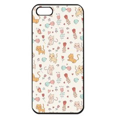 Kittens And Birds And Floral  Patterns Apple Iphone 5 Seamless Case (black) by TastefulDesigns