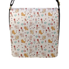 Kittens And Birds And Floral  Patterns Flap Messenger Bag (l)  by TastefulDesigns