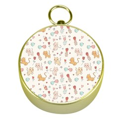 Kittens And Birds And Floral  Patterns Gold Compasses by TastefulDesigns