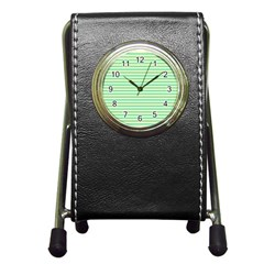 Decorative Lines Pattern Pen Holder Desk Clocks