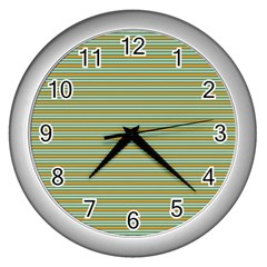 Decorative Line Pattern Wall Clocks (silver)  by Valentinaart