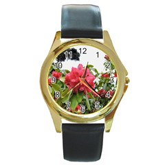 Virginia Waters Flowers Round Gold Metal Watch