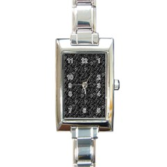 Linear Abstract Black And White Rectangle Italian Charm Watch by dflcprints