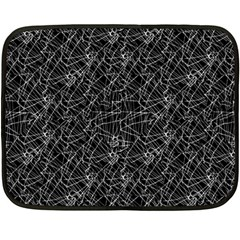 Linear Abstract Black And White Fleece Blanket (mini) by dflcprints
