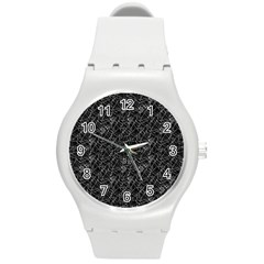 Linear Abstract Black And White Round Plastic Sport Watch (m) by dflcprints