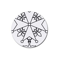Huguenot Cross Rubber Round Coaster (4 Pack)  by abbeyz71