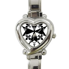 Huguenot Cross Heart Italian Charm Watch by abbeyz71