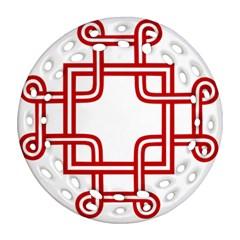 Macedionian Cross Round Filigree Ornament (two Sides) by abbeyz71