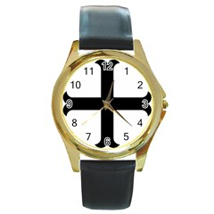 Cross Moline Round Gold Metal Watch by abbeyz71