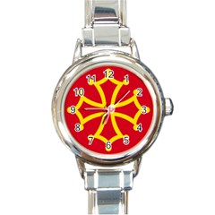 Flag Of Occitania Round Italian Charm Watch by abbeyz71