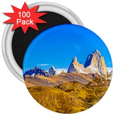 Snowy Andes Mountains, El Chalten, Argentina 3  Magnets (100 Pack) by dflcprints