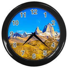 Snowy Andes Mountains, El Chalten, Argentina Wall Clocks (black) by dflcprints