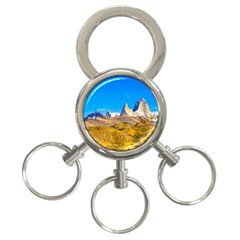 Snowy Andes Mountains, El Chalten, Argentina 3 Ring Key Chains by dflcprints