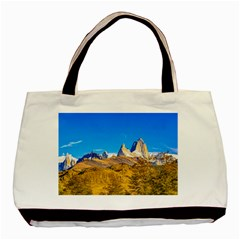 Snowy Andes Mountains, El Chalten, Argentina Basic Tote Bag by dflcprints
