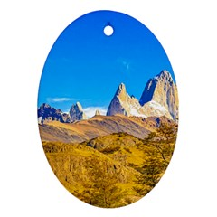Snowy Andes Mountains, El Chalten, Argentina Oval Ornament (two Sides) by dflcprints