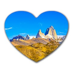 Snowy Andes Mountains, El Chalten, Argentina Heart Mousepads by dflcprints
