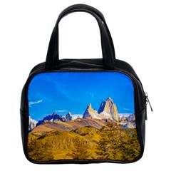 Snowy Andes Mountains, El Chalten, Argentina Classic Handbags (2 Sides) by dflcprints