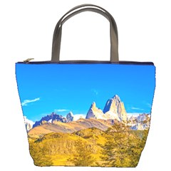 Snowy Andes Mountains, El Chalten, Argentina Bucket Bags by dflcprints