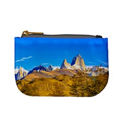 Snowy Andes Mountains, El Chalten, Argentina Mini Coin Purses by dflcprints