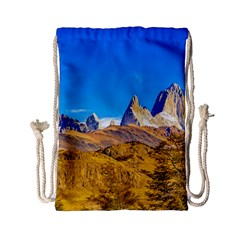 Snowy Andes Mountains, El Chalten, Argentina Drawstring Bag (small) by dflcprints