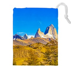 Snowy Andes Mountains, El Chalten, Argentina Drawstring Pouches (xxl) by dflcprints