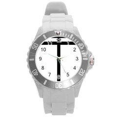 Papal Cross Round Plastic Sport Watch (l) by abbeyz71