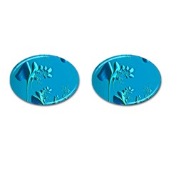 Amazing Floral Fractal A Cufflinks (oval) by Fractalworld