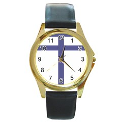 Patriarchal Cross Round Gold Metal Watch by abbeyz71