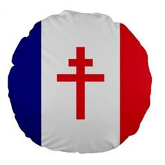 Flag Of Free France (1940 1944) Large 18  Premium Round Cushions by abbeyz71