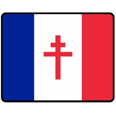 Flag Of Free France (1940 1944) Double Sided Fleece Blanket (medium)  by abbeyz71