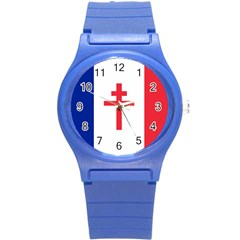 Flag Of Free France (1940 1944) Round Plastic Sport Watch (s) by abbeyz71