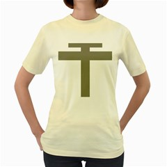 Cross Of Loraine Women s Yellow T Shirt by abbeyz71
