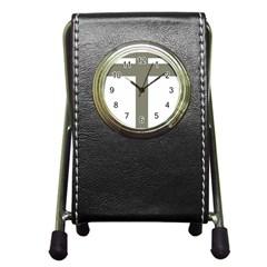 Cross Of Lorraine  Pen Holder Desk Clocks by abbeyz71