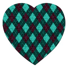 Plaid Pattern Jigsaw Puzzle (heart) by Valentinaart