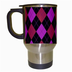 Plaid Pattern Travel Mugs (white) by Valentinaart