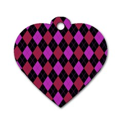 Plaid Pattern Dog Tag Heart (one Side) by Valentinaart