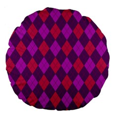 Plaid Pattern Large 18  Premium Flano Round Cushions by Valentinaart