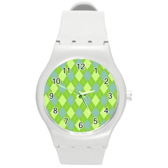 Plaid Pattern Round Plastic Sport Watch (m) by Valentinaart
