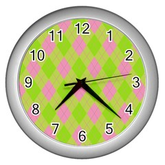 Plaid Pattern Wall Clocks (silver)  by Valentinaart