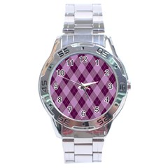 Plaid Pattern Stainless Steel Analogue Watch by Valentinaart
