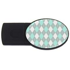 Plaid Pattern Usb Flash Drive Oval (4 Gb) by Valentinaart