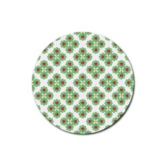 Floral Collage Pattern Rubber Round Coaster (4 Pack)  by dflcprints