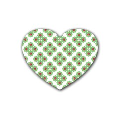 Floral Collage Pattern Rubber Coaster (heart)  by dflcprints