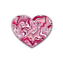Pink Marble Pattern Rubber Coaster (heart)  by tarastyle