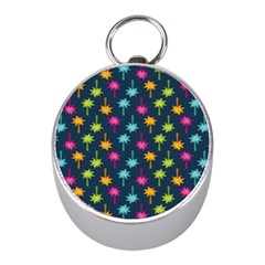 Funny Palm Tree Pattern Mini Silver Compasses by tarastyle
