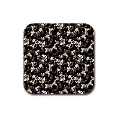 Dark Chinoiserie Floral Collage Pattern Rubber Coaster (square)  by dflcprints
