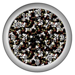 Dark Chinoiserie Floral Collage Pattern Wall Clocks (silver)  by dflcprints
