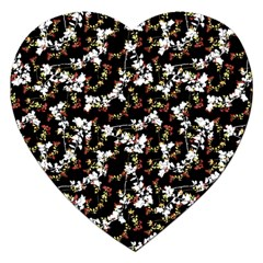 Dark Chinoiserie Floral Collage Pattern Jigsaw Puzzle (heart) by dflcprints