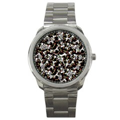 Dark Chinoiserie Floral Collage Pattern Sport Metal Watch by dflcprints